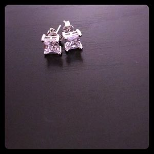 1/2 carat CZ princess cut studs